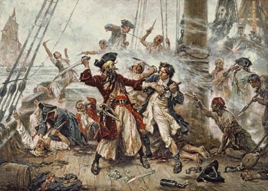 Pintura de Jean Leon Gerome Ferris que interpreta la contienda entre Barbanegra y el teniente Robert Maynard.
