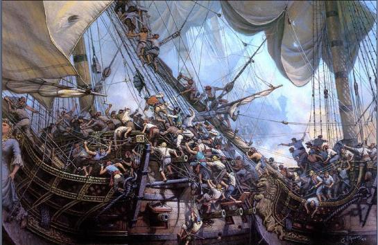 Barbanegra y sus hombres abordan la fragata francesa Concorde, barco negrero que seguidamente pasaría a ser el buque de Barbanegra con el nombre de Queen Anne´s Revenge, al que llegó a armar con 40 cañones.